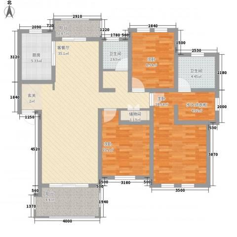 衡山城3室1厅2卫1厨111.20㎡户型图