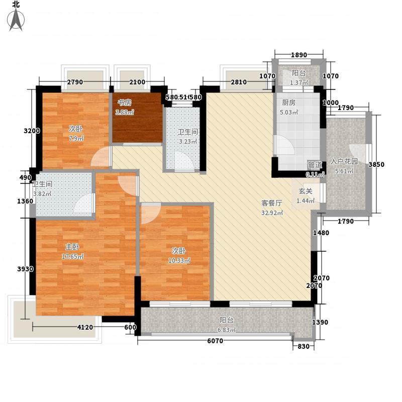 峻廷湾127.30㎡01栋偶数层01户型4室2厅2卫1厨