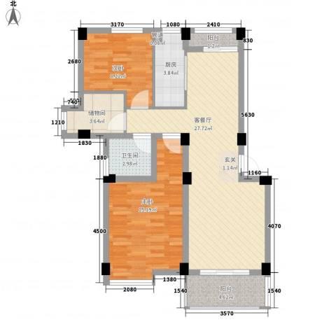 月亮湾亲水嘉园2室1厅1卫1厨99.00㎡户型图