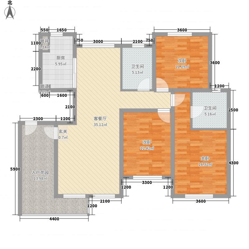 奥林匹克花园126.00㎡Fd户型3室2厅2卫1厨