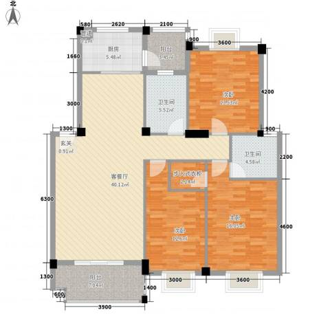 吉星佳地3室1厅2卫1厨123.57㎡户型图