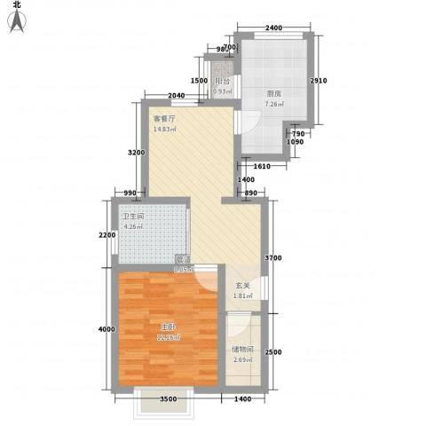 歌华中奥广场・中奥花园1室1厅1卫1厨64.00㎡户型图