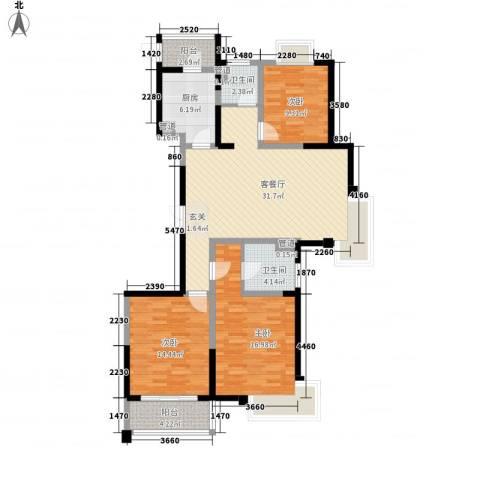 新时代广场3室1厅2卫1厨134.00㎡户型图