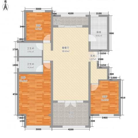 首开・国风海岸3室1厅2卫1厨156.00㎡户型图