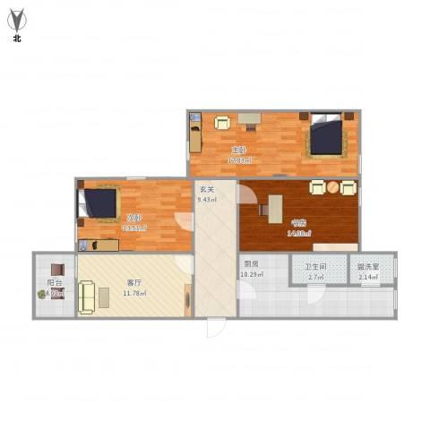 教师新村3室2厅1卫1厨116.00㎡户型图