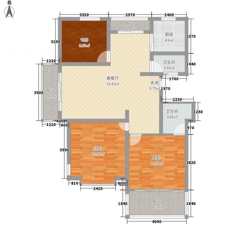 龙泽山庄133.68㎡揽山海AB户型3室2厅2卫1厨