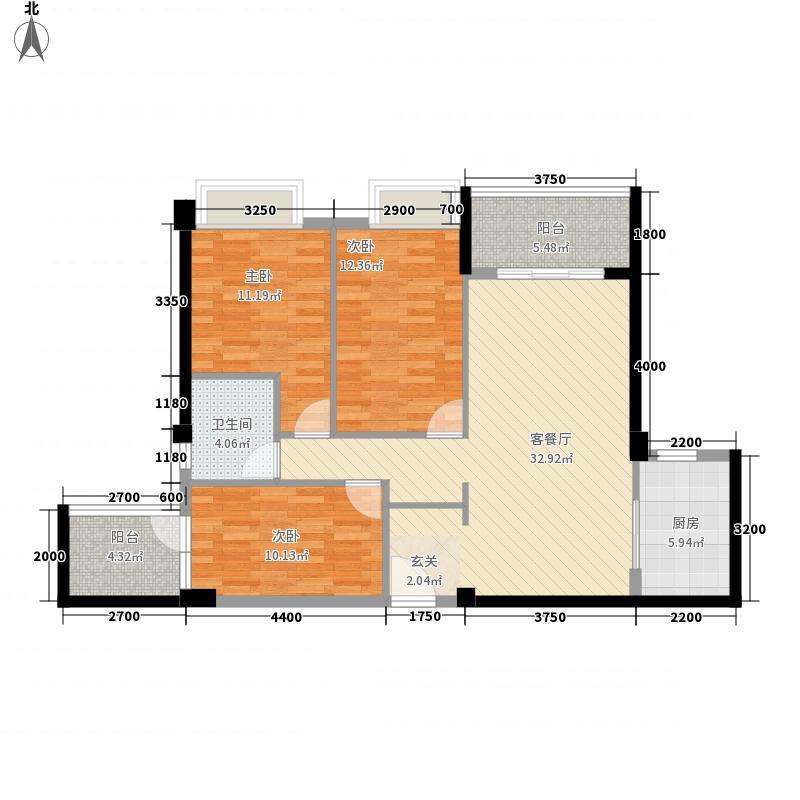 启达东海岸111.00㎡10栋J4户型3室2厅1卫1厨