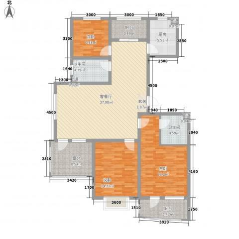利源帝景3室1厅2卫1厨145.00㎡户型图