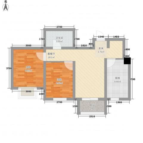 歌华中奥广场・中奥花园2室1厅1卫1厨48.35㎡户型图