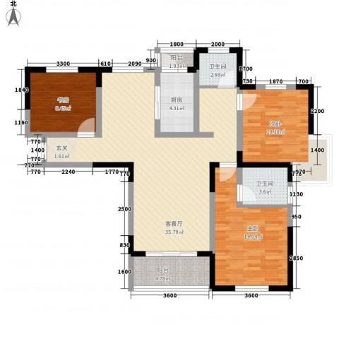 金水湾花园3室1厅2卫1厨124.00㎡户型图