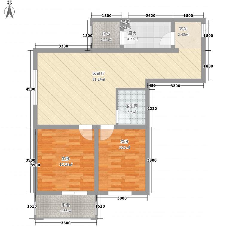 山水华城12.31㎡2#F户型2室2厅1卫1厨