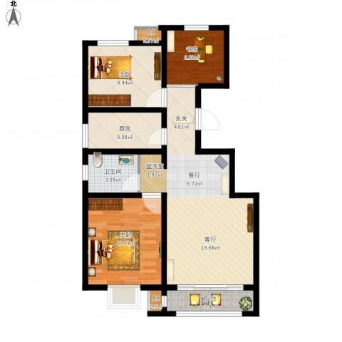 首创康桥郡3室1厅1卫1厨104.00㎡户型图