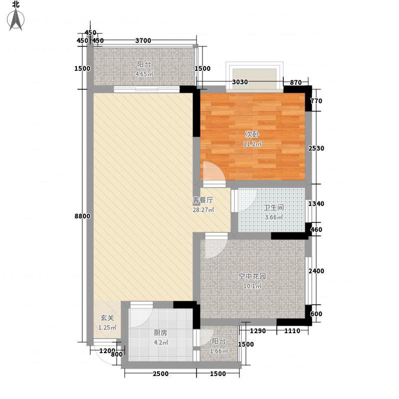 万基蓝域77.62㎡G2偶数层户型1室2厅1卫1厨