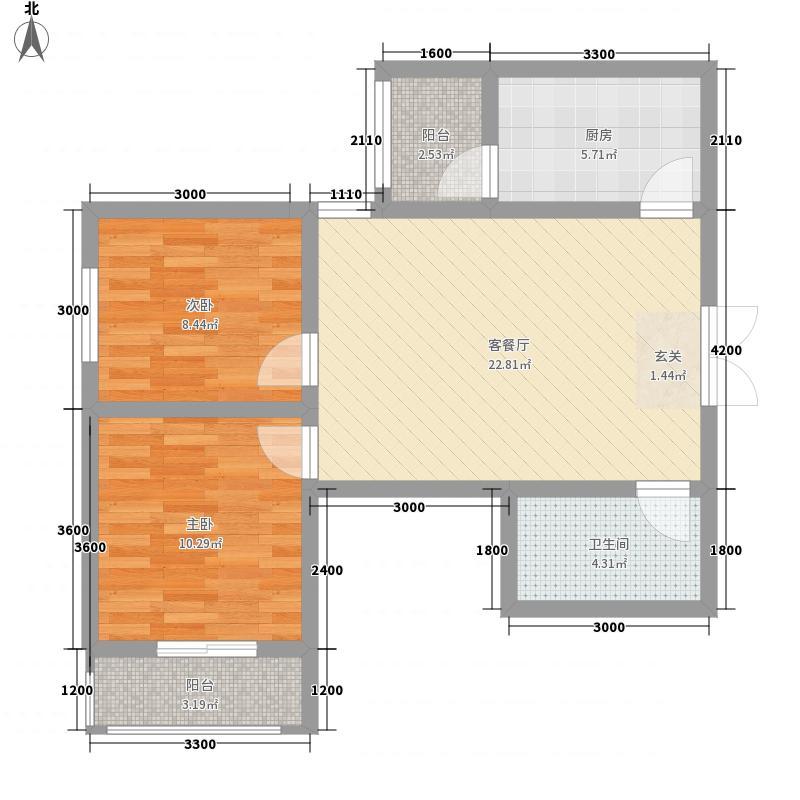 山水华城86.26㎡2#D户型2室2厅1卫1厨