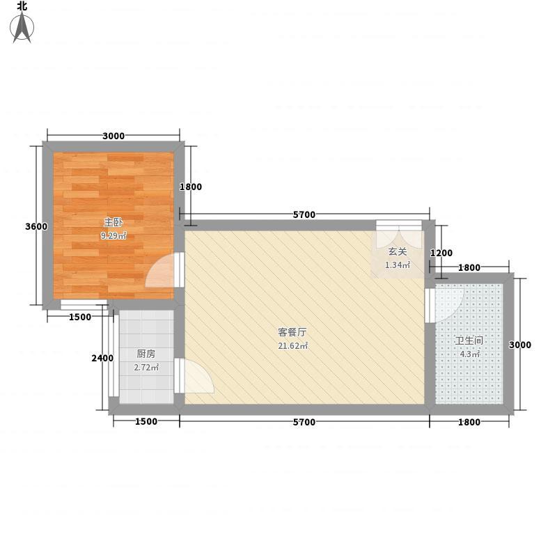 山水华城55.00㎡2#E户型1室1厅1卫1厨