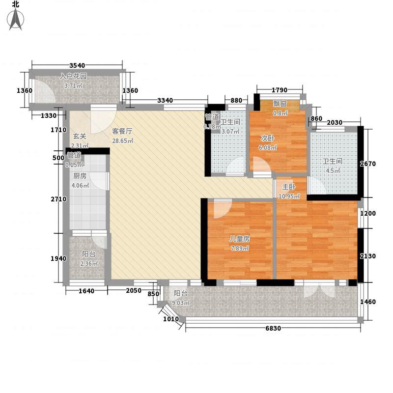 合生帝景国际12.24㎡A/C栋03单元B/D栋06单元户型3室2厅2卫1厨