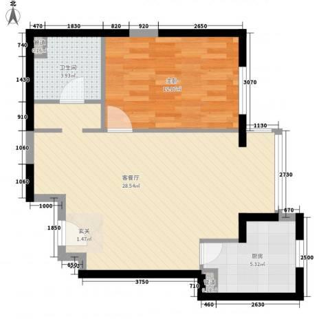 幸福家园1室1厅1卫1厨71.00㎡户型图