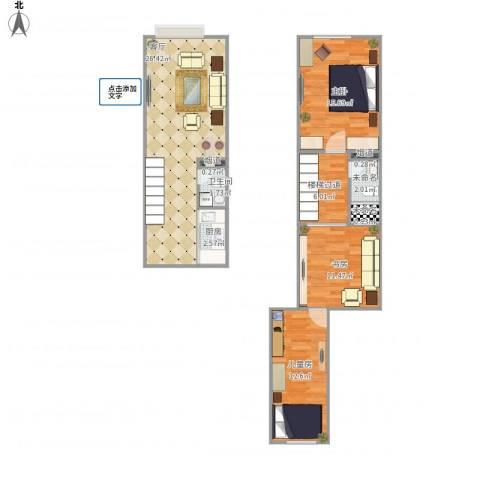 苹果新天地3室1厅1卫1厨108.00㎡户型图