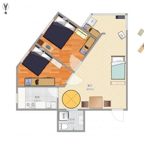 杨庄北区2室1厅1卫1厨77.00㎡户型图