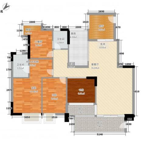 雅郡花园会展宫寓4室1厅2卫1厨139.00㎡户型图