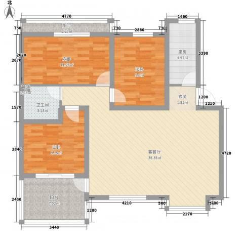 世纪城国际公馆一期3室1厅1卫1厨120.00㎡户型图