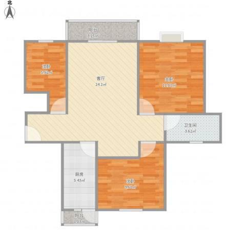 高行绿洲3室1厅1卫1厨88.00㎡户型图