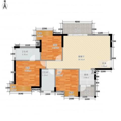 香市1号(寮步)3室1厅2卫0厨127.00㎡户型图