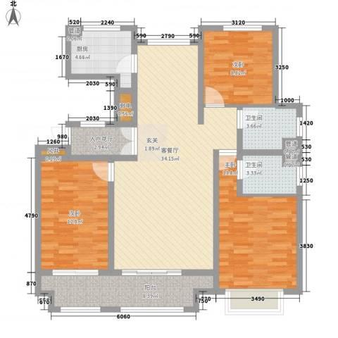 大川世纪城3室1厅2卫1厨137.00㎡户型图
