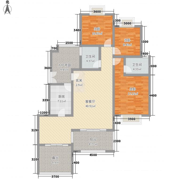 吉塬.南城水乡吉塬南城水乡B二层2号房户型3室2厅2卫1厨