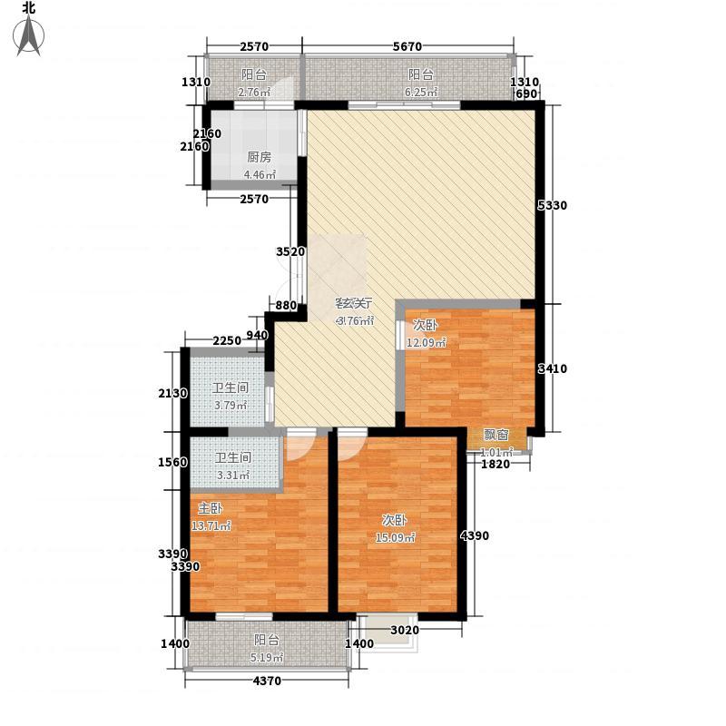 万锦太和佳苑156.80㎡1#楼G户型3室2厅2卫1厨