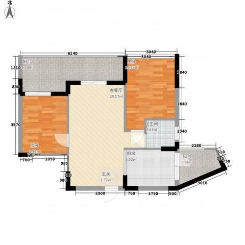 丽郡2室1厅1卫1厨64.00㎡户型图