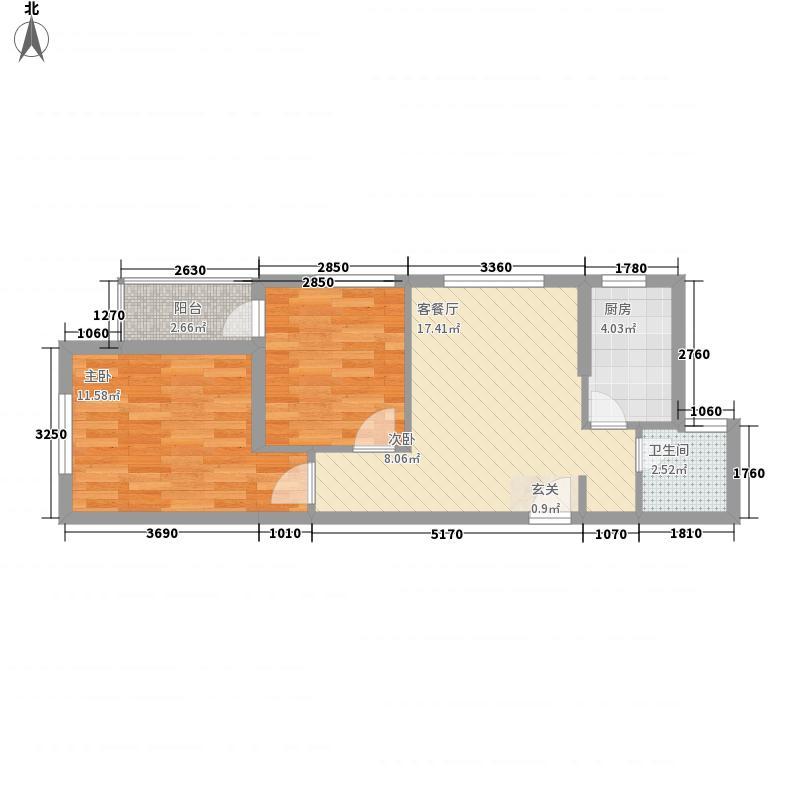 香港城822166.63㎡8#C户型2室2厅1卫1厨