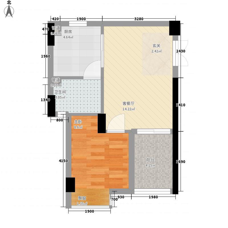 润福苑48.30㎡A座B座07号房户型1室1厅1卫1厨