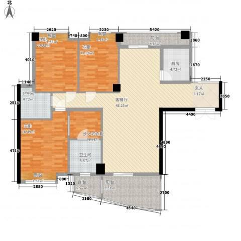 山海��(仙岳大厦)3室1厅2卫1厨178.00㎡户型图