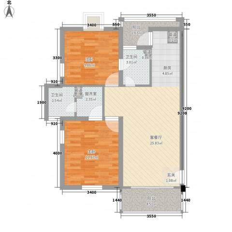 幸福家园2室2厅2卫0厨91.00㎡户型图