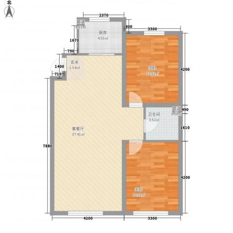 利源帝景2室1厅1卫1厨70.02㎡户型图