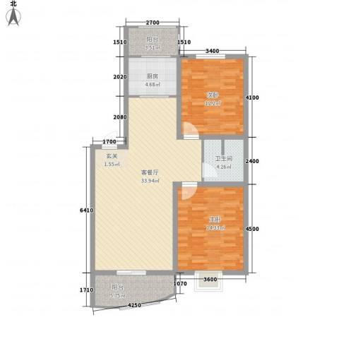 利源帝景2室1厅1卫1厨78.66㎡户型图