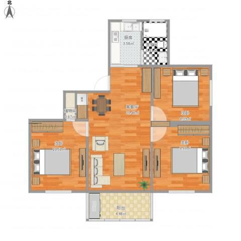 共江小区3室1厅1卫1厨89.00㎡户型图