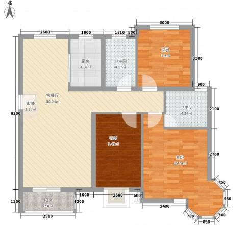 天元蓝城3室1厅2卫1厨124.00㎡户型图
