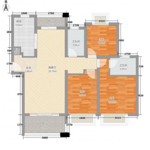 莱蒙水榭春天3室1厅2卫1厨116.00㎡户型图