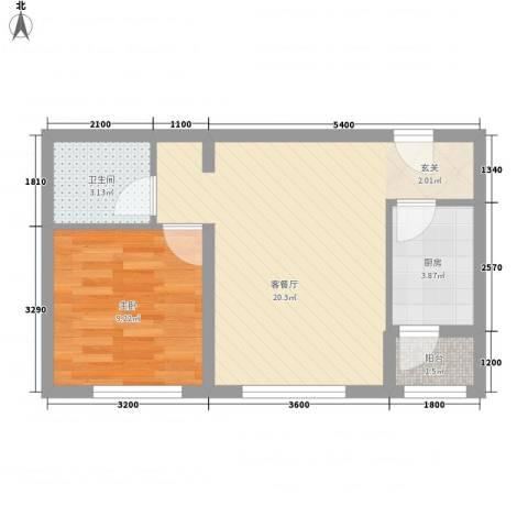 天元蓝城1室1厅1卫1厨61.00㎡户型图