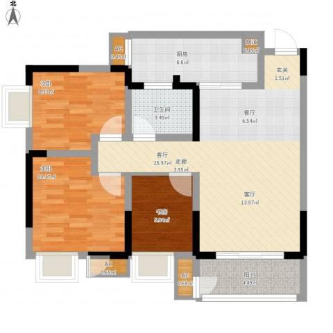 正源缙云山水3室1厅1卫1厨99.00㎡户型图