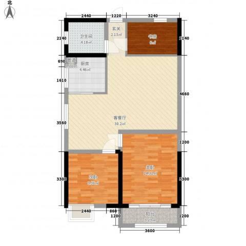 天一华府3室1厅1卫1厨103.00㎡户型图