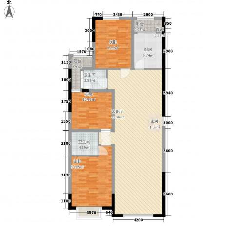 天一华府3室1厅2卫1厨148.00㎡户型图
