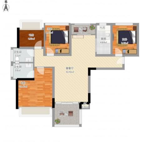 凤雅颂4室1厅2卫1厨127.00㎡户型图