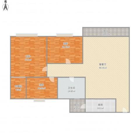 颐景花园A4栋1单元403房3室1厅1卫1厨286.00㎡户型图