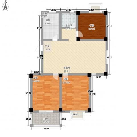 枫林雅都3室1厅1卫1厨102.00㎡户型图