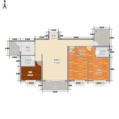 凤凰山水国际城3室1厅2卫1厨128.00㎡户型图