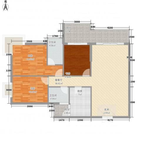 凤凰山水国际城3室1厅2卫1厨123.00㎡户型图
