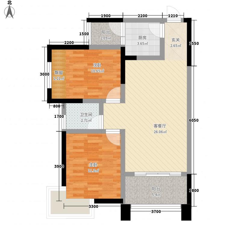 一新国际社区182.23㎡E1-A户型2室2厅1卫1厨